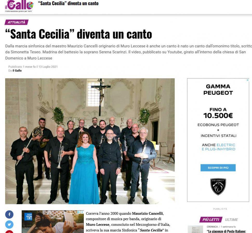 """""""Santa Cecilia"""" diventa un canto - Il Gallo"""